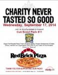 REDBRICK PIZZA Fundraiser – SEPT 17 – New Date!